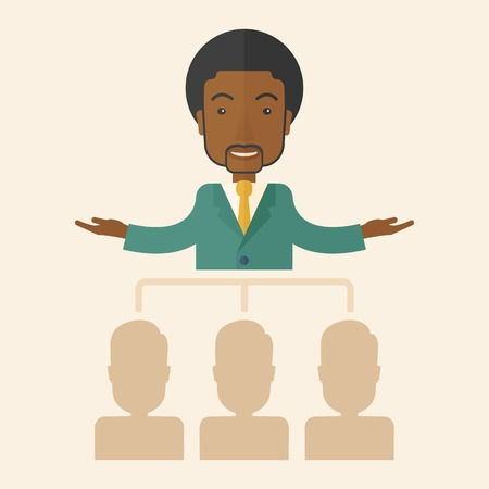 co workers: An african-american smart gentleman giving a business to his co workers. Business concept. A Contemporary style with pastel palette, soft beige tinted background. Vector flat design illustration. Square layout. Illustration