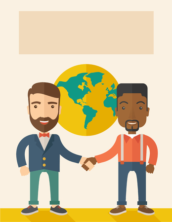 An american and black guy happily handshaking with their International or global world corporation business. Partnership concept. A Contemporary style with pastel palette, soft beige tinted background. Vector flat design illustration. Vertical layout. Illustration