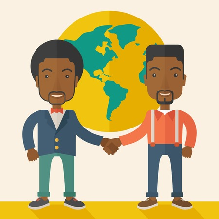 handshaking: A two black guy happily handshaking with their International or global world corporation business. Partnership concept. A Contemporary style with pastel palette, soft beige tinted background. Vector flat design illustration. Square layout.