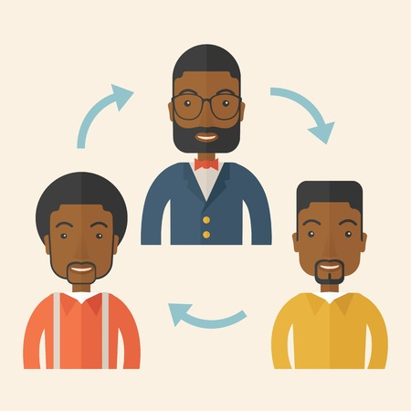 teammate: A smiling group young african are in brainstorming for their marketing presentation. teamwork concept. A Contemporary style with pastel palette, soft beige tinted background. Vector flat design illustration. Square layout. Illustration