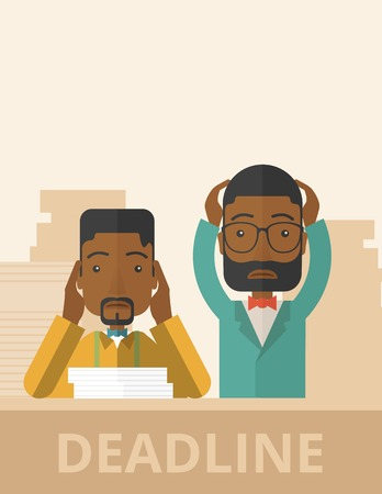 A two african-american empoloyees is burnout  having a problem meeting the deadline, so many paper works to attend to. A Contemporary style with pastel palette, soft beige tinted background. Vector flat design illustration. Vertical layout wiht text space Illustration