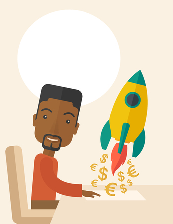 earn more: A happy black guy is ready for his presentation on launching a new business project to earn more money. Start up concept. A Contemporary style with pastel palette, soft beige tinted background. Vector flat design illustration. Vertical layout with text sp Illustration