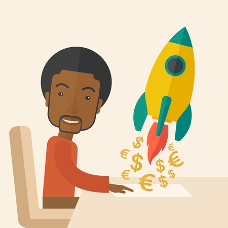 A happy black guy is ready for his presentation on launching a new business project to earn more money. Start up concept. A Contemporary style with pastel palette, soft beige tinted background. Vector flat design illustration. Square layout.