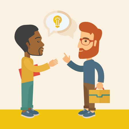 exchanging: A two businessmen black and white american exchanging ideas of what project they want to put up. Business plan concept. A Contemporary style with pastel palette, soft beige tinted background. Vector flat design illustration. Square layout. Illustration
