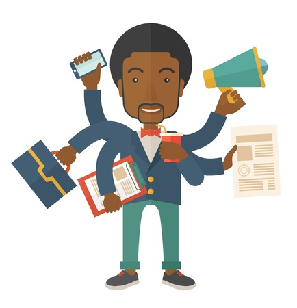 once: A young but happy african employee has six arms doing multiple office tasks at once as a symbol of the ability to multitask, performing multiple task simultaneously. Multitasking concept. A Contemporary style. Vector flat design illustration isolated whit