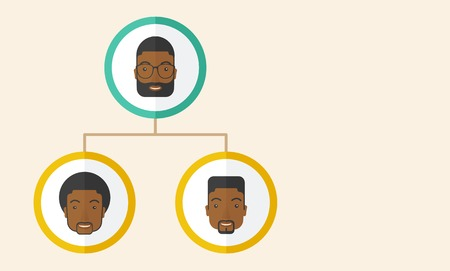 discussion forum: A group of african gather to have a business meeting and brainstorming. Business group concept. .  A Contemporary style with pastel palette, soft beige tinted background. Vector flat design illustration. Horizontal layout with text space in right side. Illustration