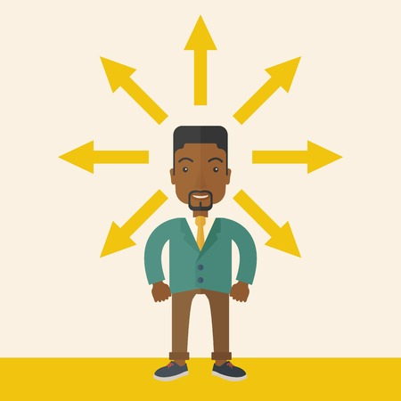 multiple ethnicities: A black businessman being confused with too many directions, presenting with arrows, to make decision. A Contemporary style with pastel palette, soft beige tinted background. Vector flat design illustration. Square layout. Illustration