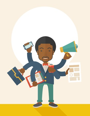 once: A young but happy african employee has six arms doing multiple office tasks at once as a symbol of the ability to multitask, performing multiple task simultaneously. Multitasking concept. A Contemporary style with pastel palette, soft beige tinted backgro Illustration