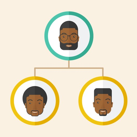 A group of african gather to have a business meeting and brainstorming. Business group concept. A Contemporary style with pastel palette, soft beige tinted background. Vector flat design illustration. Square layout. Vectores