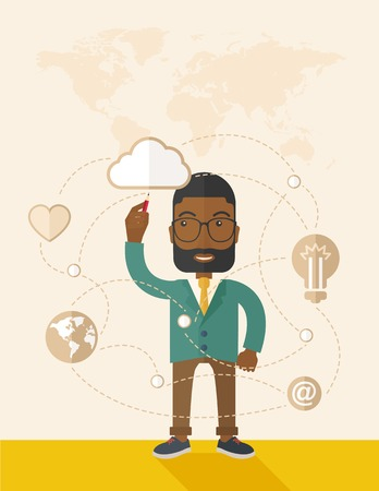 character illustration: A Black man holding a pen making his presentation on glass board to be represent to his co worker. Teamleader concept.  A Contemporary style with pastel palette, soft beige tinted background. Vector flat design illustration. Vertical layout with text spac