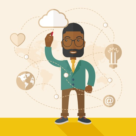 male symbol: A Black man holding a pen making his presentation on glass board to be represent to his co worker. Teamleader concept.  A Contemporary style with pastel palette, soft beige tinted background. Vector flat design illustration. Square layout. Illustration