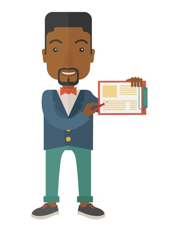 reputable: A handsome black guy wearing blue jacket holding his clipboard with paper where he wrote his report happily presenting his marketing plan. Marketing strategy concept. A Contemporary style. Vector flat design illustration isolated white background. Vertica
