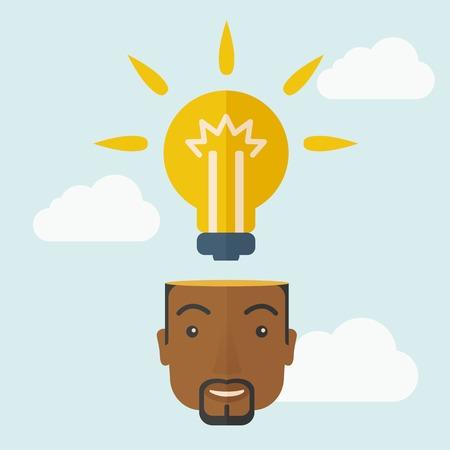 hombre pensando: Un hombre de negocios negro tiene una idea brillante para la estrategia de marketing con una bombilla en la cabeza. Concepto de la inteligencia humana. Un estilo contemporáneo con la paleta de colores pastel, fondo teñido azul suave con nubes desaturado. Vector diseño plano ilustración. Diseño Square