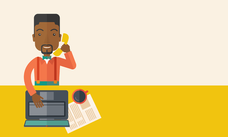 An african Office man sitting at his working desk with his laptop and having a telephone conversation. Business concept. A Contemporary style with pastel palette, soft beige tinted background. Vector flat design illustration. Horizontal layout with text s Illustration