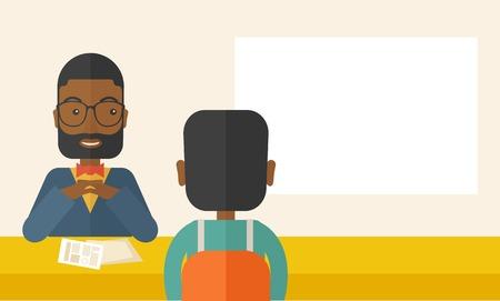 Een lachende zwarte human resource manager interviewde de aanvrager met zijn curriculum vitae voor de vacature. Werkgelegenheid, recruitment concept. Een hedendaagse stijl met pastel palet, zacht beige getinte achtergrond. Vector platte ontwerp illustratie. Hori
