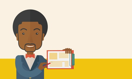 reputable: A handsome black guy wearing blue jacket holding his clipboard with paper where he wrote his report happily presenting his marketing plan. Marketing strategy concept. A Contemporary style with pastel palette, soft beige tinted background. Vector flat desi