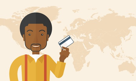 fulfillment: A happy african businessman thankfully standing holding his credit card. Fulfillment concept. A Contemporary style with pastel palette, soft beige tinted background. Vector flat design illustration. Horizontal layout with text space in right side. Illustration
