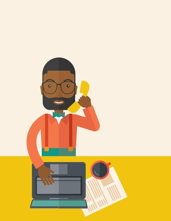 An african Office man sitting at his working desk with his laptop and having a telephone conversation. Business concept. A Contemporary style with pastel palette, soft beige tinted background. Vector flat design illustration. Vertical layout with text sap Illustration
