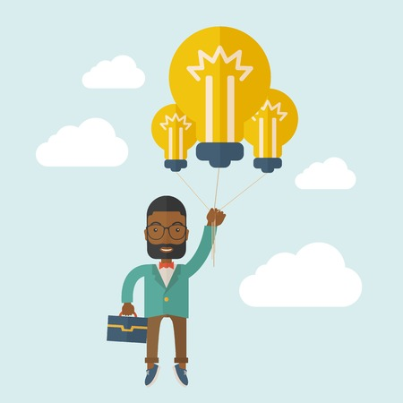 desaturated: An african-american businessman carrying a briefcase with bulb as balloon to take him fly high. Happy and success concept. A contemporary style with pastel palette soft blue tinted background with desaturated clouds. Vector flat design illustration. Squar Illustration
