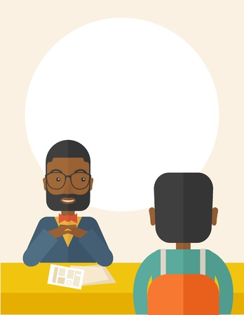 interviewer: A smiling black human resource manager interviewed the applicant with his curriculum vitae for the job vacancy.  Employment, recruitment concept. A Contemporary style with pastel palette, soft beige tinted background. Vector flat design illustration. Vert Illustration