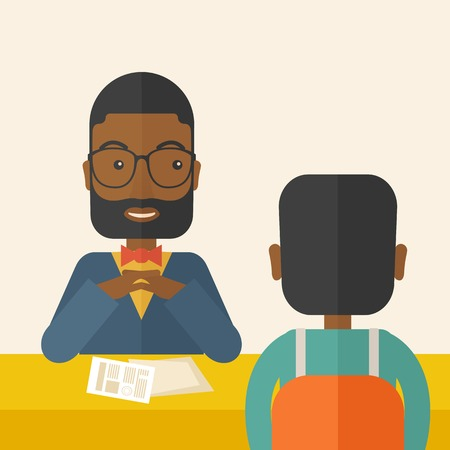 A smiling black human resource manager interviewed the applicant with his curriculum vitae for the job vacancy.  Employment, recruitment concept. A Contemporary style with pastel palette, soft beige tinted background. Vector flat design illustration. Squa