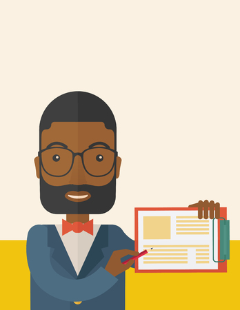 wrote: A handsome black guy wearing blue jacket holding his clipboard with paper where he wrote his report happily presenting his marketing plan. Marketing strategy concept. A Contemporary style with pastel palette, soft beige tinted background. Vector flat desi
