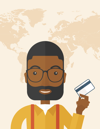 fulfillment: A happy african businessman thankfully standing holding his credit card. Fulfillment concept. A Contemporary style with pastel palette, soft beige tinted background. Vector flat design illustration. vertical layout with text space on top part. Illustration