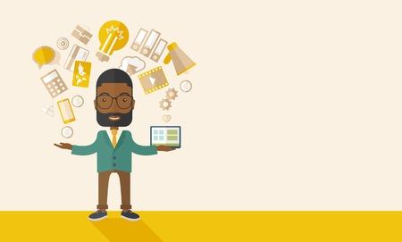 幸せな黒人男性に立って楽しんで、たった一人のオフィスに彼の家から別のプロジェクトに取り組んで、マルチタスクを行います。自立の概念。パステル カラーのパレットと現代的なスタイルは、ソフト ベージュ着色背景。ベクトル フラットなデザイン イラスト。H 写真素材 - 41175719