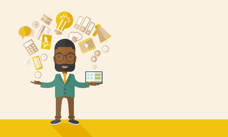 multitask: A happy black man standing enjoying doing multitasking, working on different project from his home to office only by himself. Self-reliance concept. A Contemporary style with pastel palette, soft beige tinted background. Vector flat design illustration. H