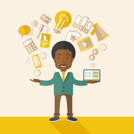 A happy black man standing enjoying doing multitasking, working on different project from his home to office only by himself. Self-reliance concept. A Contemporary style with pastel palette, soft beige tinted background. Vector flat design illustration. S Stock Vector - 41176364