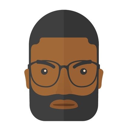 A face of angry black guy with his beard and very mad eyes. A Contemporary style. Vector flat design illustration isolated white background. Square layout. Illustration