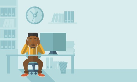 sad cartoon: An overworked african-american businessman sitting infront of computer holding his head by two hands, under stress causing a headache. Unhappy concept. A contemporary style with pastel palette soft blue tinted background. Vector flat design illustration.H