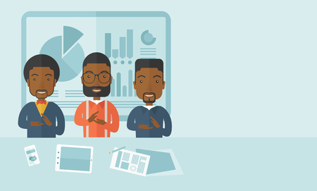 black men: Three black men speakers clapping their hands for a successful business financial presentation with tablet, smartphone and a paper as their guide. Teamwork concept. A contemporary style with pastel palette soft blue tinted background. Vector flat design i