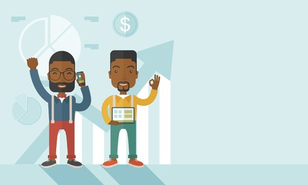 black male: A two cheerful african businessmen with arms up high enjoying their success shown in the graph at their back. A contemporary style with pastel palette soft blue tinted background. Vector flat design illustration. Horizontal layout with text space in right Illustration