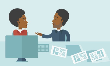 african american handshake: The two young african-american businessmen are talking about the marketing proposal with laptop a paper contract to be sign in the meeting room. Business partnership concept. A contemporary style with pastel palette soft blue tinted background. Vector fla Illustration