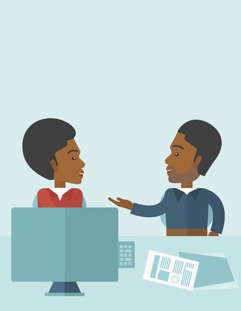 converse: The two young african-american businessmen are talking about the marketing proposal with laptop a paper contract to be sign in the meeting room. Business partnership concept. A contemporary style with pastel palette soft blue tinted background. Vector fla Illustration