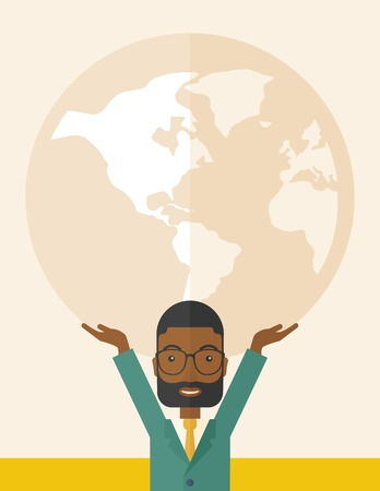 businessman carrying a globe: A black businessman carrying big globe it is a symbol that he is number one in the world in business society. A Contemporary style with pastel palette, soft beige tinted background. Vector flat design illustration. Vertical layout.