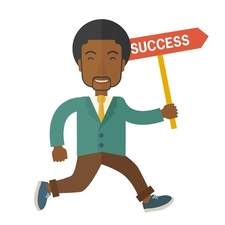 A happy african businessman smiling while holding the placard with success written. Business growth concept. A Contemporary style. Vector flat design illustration isolated white background. Square layout Ilustração