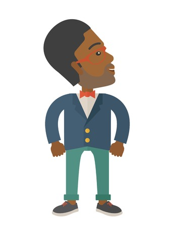 An african-american businessman standing looking up. Successful business concept. . A Contemporary style. Vector flat design illustration isolated white background. Vertical layout Vector