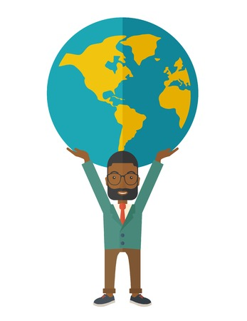 A black businessman carrying big globe it is a symbol that he is number one in the world in business society. A Contemporary style. Vector flat design illustration isolated white background. Vertical layout Ilustração