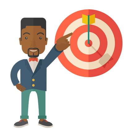A black salesman happy standing while his hand pointing to the arrow from target pad shows that he hit his target sales. Business concept. A Contemporary style. Vector flat design illustration isolated white background. Square layout.
