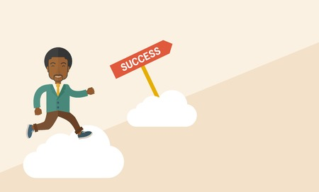 carreer: A happy african businessman smiling while jumping above the cloud for his succeess. Business growth concept. A Contemporary style with pastel palette, soft beige tinted background. Vector flat design illustration. Horizontal layout.