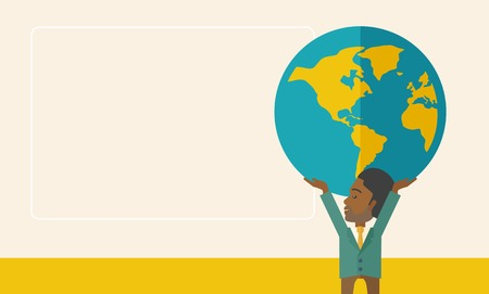 businessman carrying a globe: A black businessman carrying big globe it is a symbol that he is number one in the world in business society. A Contemporary style with pastel palette, soft beige tinted background. Vector flat design illustration. Horizontal layout with text space in lef