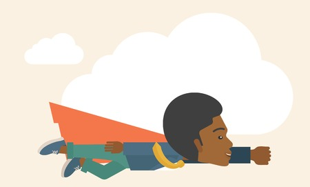 goal achievement: A superhero black businessman flying high to achieve his goal. Challenge concept. A Contemporary style with pastel palette, soft beige tinted background. Vector flat design illustration. Horizontal layout with text space on top part.