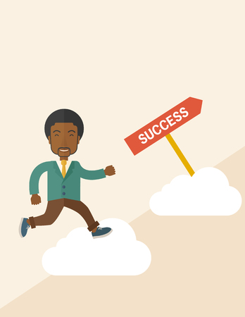 carreer: A happy african businessman smiling while jumping above the cloud for his succeess. Business growth concept. A Contemporary style with pastel palette, soft beige tinted background. Vector flat design illustration. Square layout.