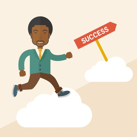 tinted: A happy african businessman smiling while jumping above the cloud for his succeess. Business growth concept. A Contemporary style with pastel palette, soft beige tinted background. Vector flat design illustration. Square layout.