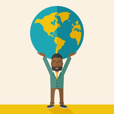 A black businessman carrying big globe it is a symbol that he is number one in the world in business society. A Contemporary style with pastel palette, soft beige tinted background. Vector flat design illustration. Square layout.
