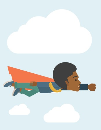 A superhero black businessman flying high to achieve his goal. Challenge concept. A Contemporary style with pastel palette, soft blue tinted background with disaturated clouds. Vector flat design illustration. Vertical layout. Vector