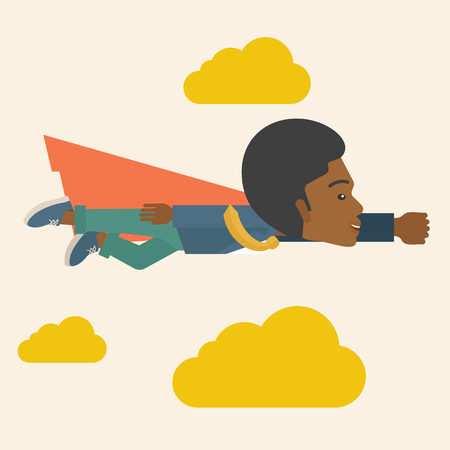 A superhero black businessman flying high to achieve his goal. Challenge concept. A Contemporary style with pastel palette, soft beige tinted background and yellow clouds. Vector flat design illustration. Square layout. Vector