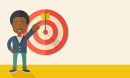 A black salesman happy standing while his hand pointing to the arrow from target pad shows that he hit his target sales. Business concept. A Contemporary style with pastel palette, soft beige tinted background. Vector flat design illustration. Horizontal